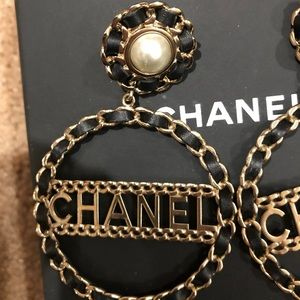 8b0ae2792 CHANEL Jewelry | 2018 Gold Pearl Black Leather Xl Earrings | Poshmark